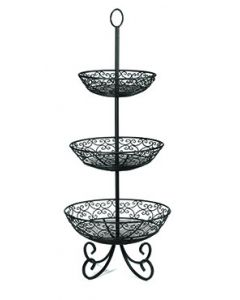 Tablecraft BKT3 Mediterranean Three-Tiered Basket w/ Legs Black Metal