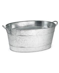 Tablecraft BT1914 19x14x9 Glvnzed Aluminum Oval Beverage Tub