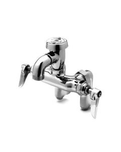 T & S Brass Service Sink Faucet, adjustable centers, polished chrome plated finish